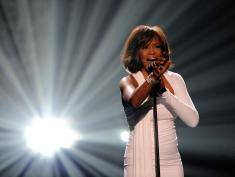 LOS ANGELES, CA - NOVEMBER 22:  Singer Whitney Houston accepts the Winner of International - Favorite Artist Award onstage at the 2009 American Music Awards at Nokia Theatre L.A. Live on November 22, 2009 in Los Angeles, California.  (Photo by Kevork Djansezian/Getty Images) *** Local Caption *** Whitney Houston