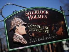 LONDON, ENGLAND - MARCH 26:  A general view of the sign outside the former home of the fictional Character Sherlock Holmes on March 26, 2012 in London, England. 221B Baker Street is the London address of the fictional detective Sherlock Holmes, which was created by author Sir Arthur Conan Doyle.  (Photo by Dan Kitwood/Getty Images)