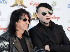 LOS ANGELES, CA - MAY 02:  Musicians Alice Cooper and Marilyn Manson arrive at the 5th Annual Revolver Golden Gods Award Show  at Club Nokia on May 2, 2013 in Los Angeles, California.  (Photo by Frazer Harrison/Getty Images)