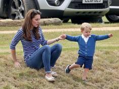 Szczupła Kate i uroczy Jerzy na meczu polo