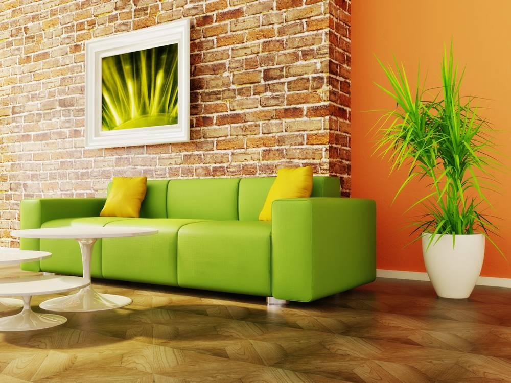Зеленые стены с декором