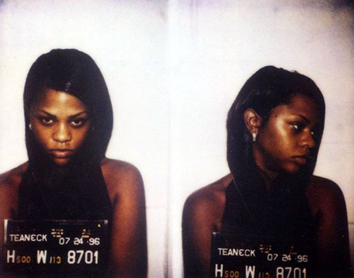 Jul 24, 1996 - Trenton, NJ, USA - Multi-platinum rapper and singer LIL' KIM (aka Kimberly Jones) was arrested by New Jersey cops in July 1996 and charged with possession of marijuana. The rapper was rounded up after the police raided the home of the late Notorious Biggie Smalls (aka Christopher Wallace), her rap rabbi. (Credit Image: © Trenton Police Department/ZUMAPRESS.com)